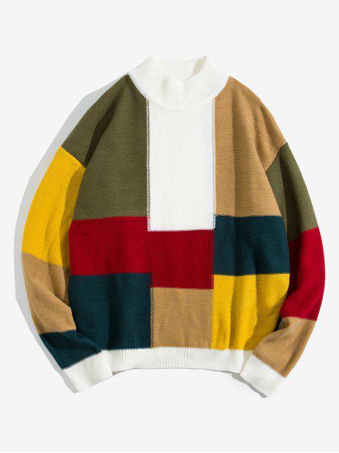 色彩拼接休閒圓領毛衣 - 白色 L Mobile