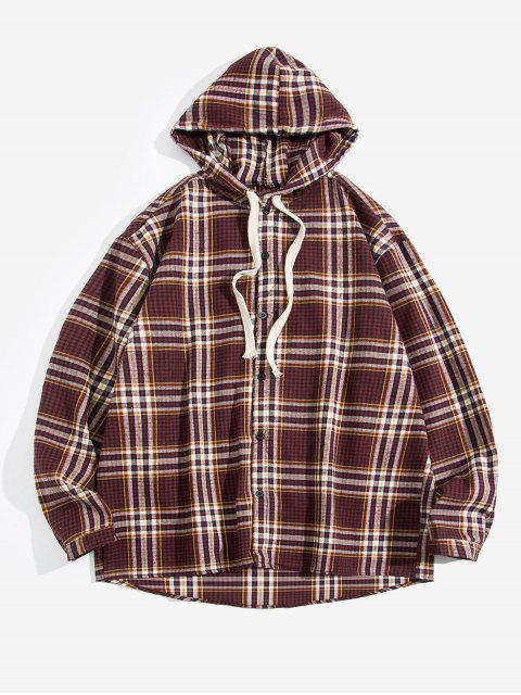 hot Plaid Print Button Hooded Long-sleeved Shirt - RED 4XL Mobile