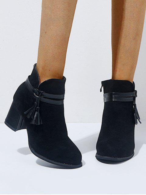 皮革流蘇矮胖鞋跟短靴 - 黑色 歐盟39 Mobile