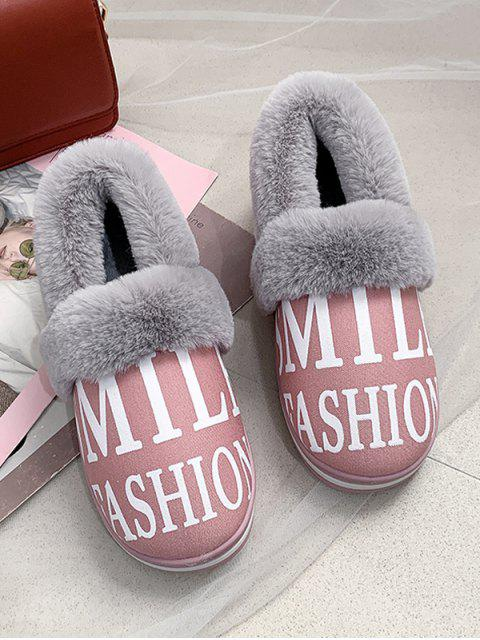 lady Letter Graphic Fuzzy Trim Casual Snow Boots - LIGHT PINK EU 38 Mobile