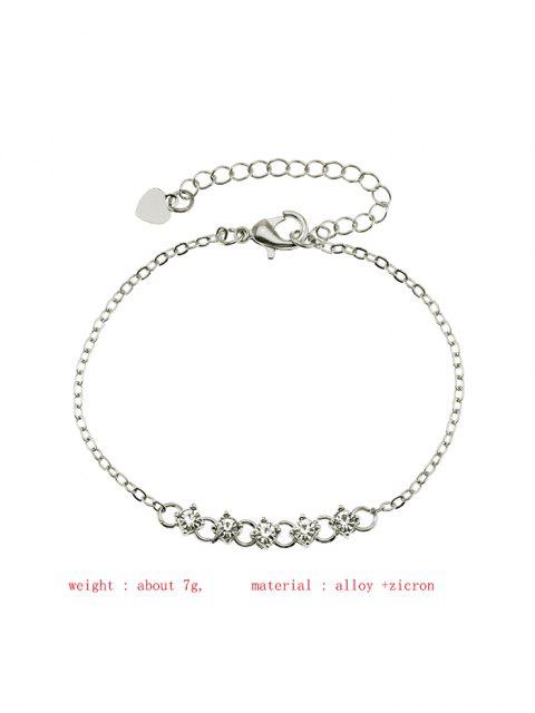 Buchstabe Strass Kette Armband - Silber  Mobile