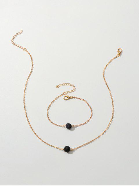 Single-Korn-Kette Halskette und Armband Set - Gold  Mobile