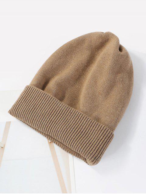 Einfarbige Gestrickte Elastische Winter-Hut - Khaki  Mobile