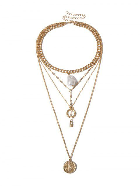 Mehrschichtige Verschluss-Perlen-Ketten-Halskette - Gold  Mobile