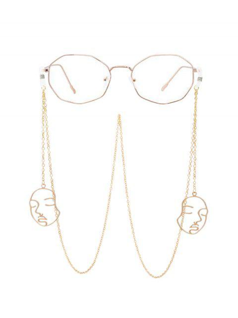 Kette Hohl Gesicht Sonnenbrille Lanyard - Gold  Mobile
