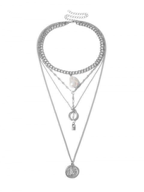 Замок Цепь Искусственный жемчуг Многослойное Ожерелье - Серебристый  Mobile