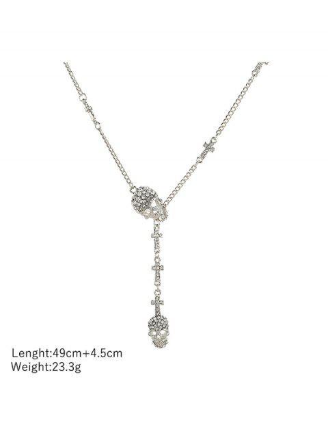 Schädel-Kreuz Strass Lariat Halskette - Silber  Mobile