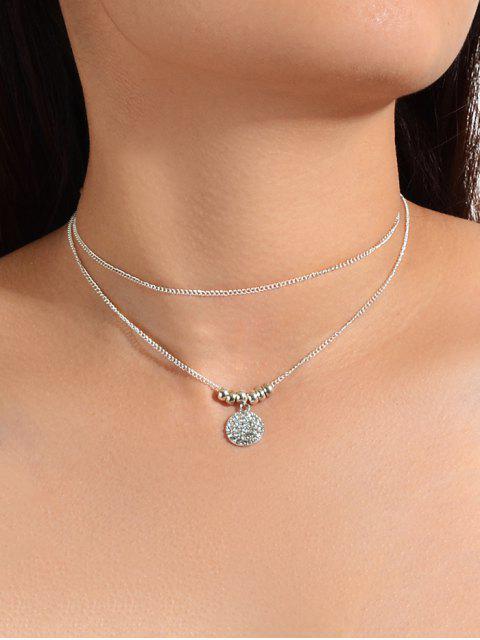 Горный хрусталь Круглая подвеска Двухслойное Ожерелье - Серебристый  Mobile