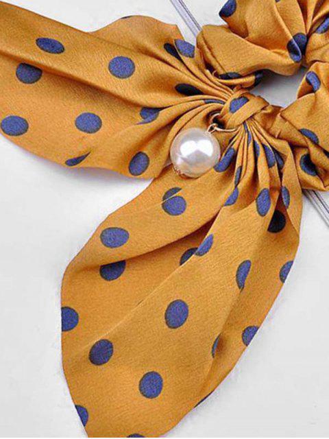 Принт в горошек Искусственный жемчуг С бантом Резинка для волос - Пчела-желтый  Mobile