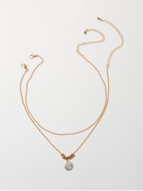 雙層鑽圓形吊墜項鍊 - 金  Mobile
