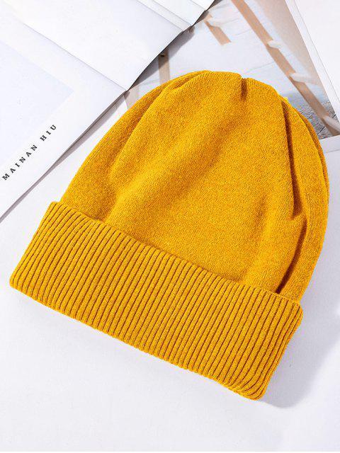 固體針織彈力冬帽 - 黃色  Mobile