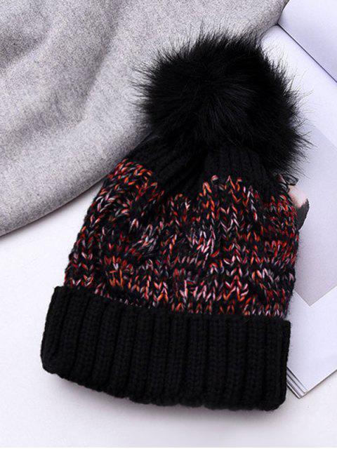 冬季紋織造泡泡龍帽子 - 黑色  Mobile
