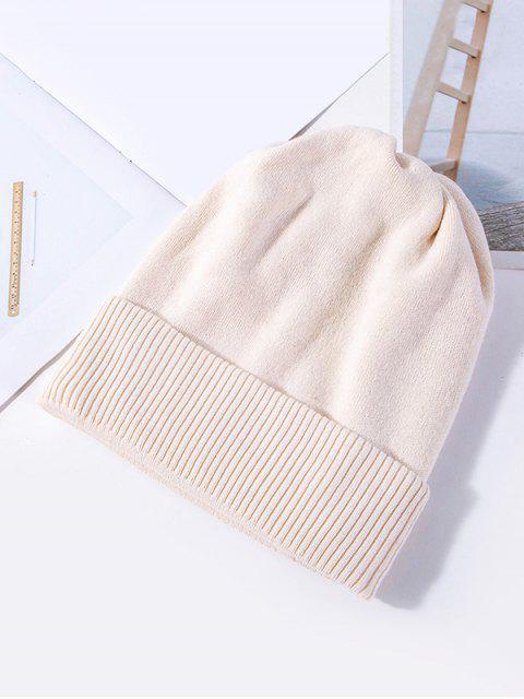 Einfarbige Gestrickte Elastische Winter-Hut - Weiß  Mobile