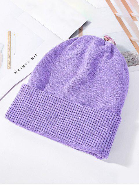 Einfarbige Gestrickte Elastische Winter-Hut - Lila Mimose  Mobile