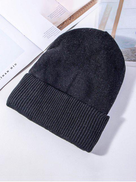 Одноцветная Вязаная Эластичная Зимняя Шляпа - Чёрный  Mobile