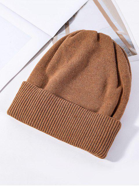Einfarbige Gestrickte Elastische Winter-Hut - Karamell  Mobile