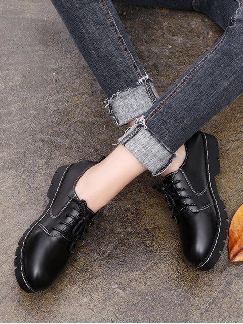 Chaussures en Couleur Unie en Faux Cuir à Lacets - Noir EU 36 Mobile