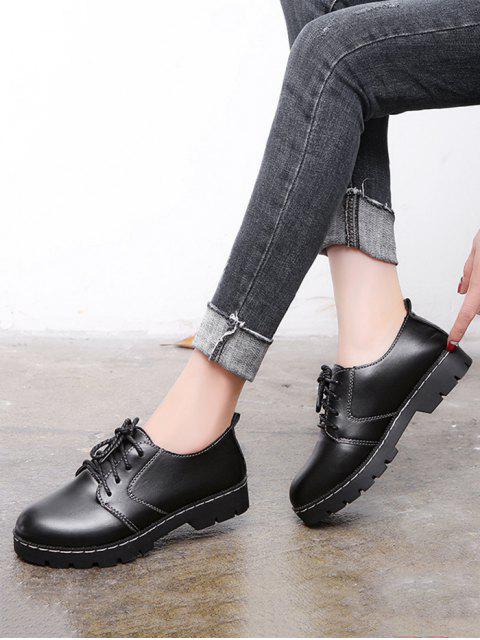 Chaussures en Couleur Unie en Faux Cuir à Lacets - Noir EU 41 Mobile