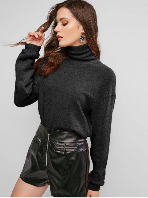 trendy ZAFUL Drop Shoulder Turtleneck Jumper Sweater - BLACK XL Mobile