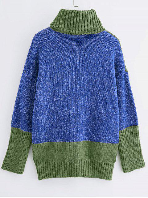 雙色高領高低縫毛衣 - 多-A One Size Mobile