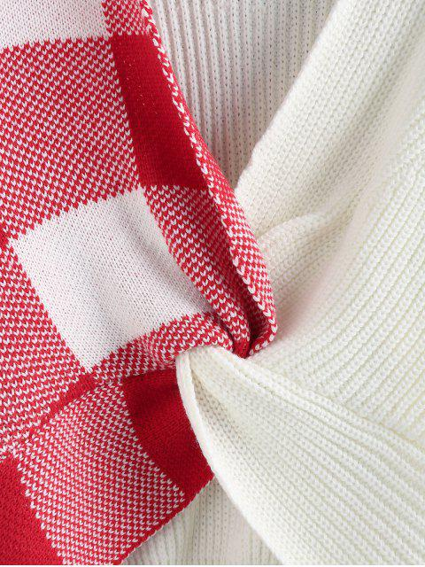 ZAFUL格紋扭降肩跳線毛衣 - 白色 S Mobile