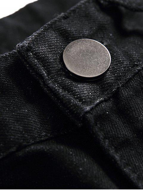 心疼撕開龍拉鍊拉開牛仔褲 - 黑色 36 Mobile