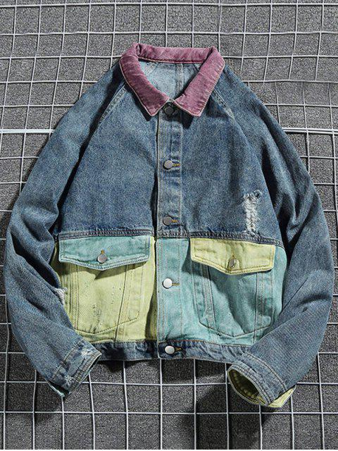 women's Colorblock Spliced Raglan Sleeve Ripped Jean Jackets - BLUE XL Mobile
