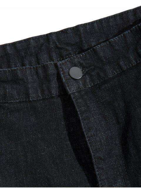 Einfarbige Reißverschluss Fliegen Lässige Jeans - Schwarz 36 Mobile