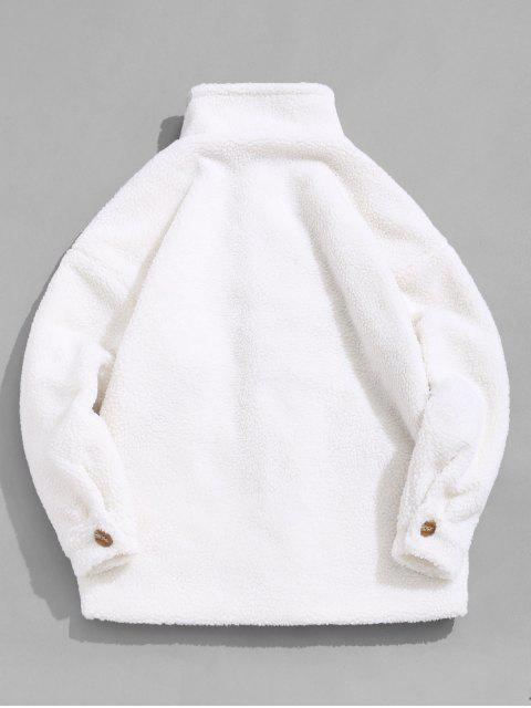 Buchstabe Taschen Verzierte Knopf Flauschige Jacke - Warmweiß L Mobile
