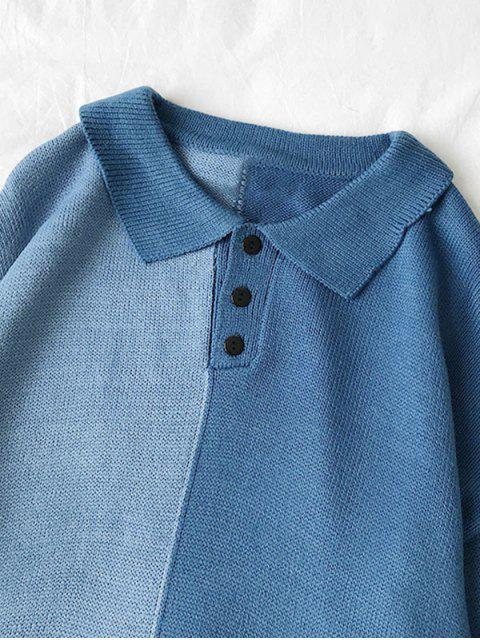 Farbblock Panel Halber Knopf Pullover - Blau XL Mobile