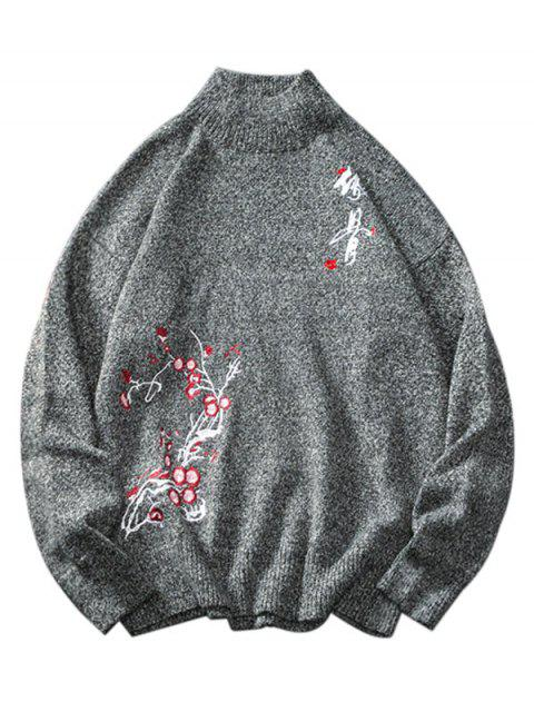 affordable Floral Chinese Letter Embroidery Sweater - ASH GRAY M Mobile