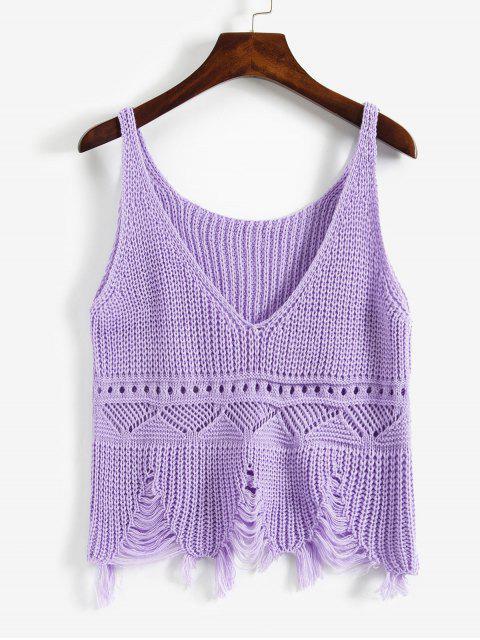 磨破撕開Pointelle針織切入背心 - 紫色 One Size Mobile