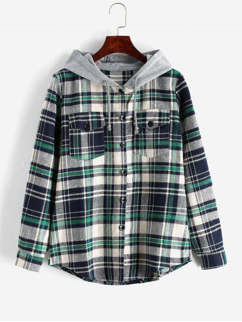fashion Button Up Plaid Hooded Blouse - GREEN 2XL Mobile