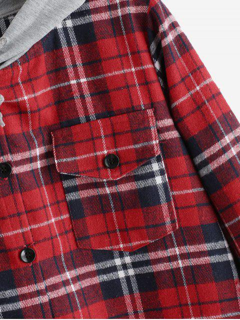 online Button Up Plaid Hooded Blouse - RED 2XL Mobile