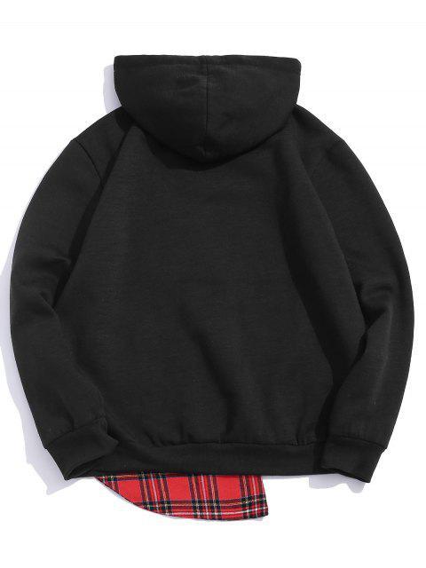 格紋圖案袋鼠口袋連帽衫 - 黑色 M Mobile
