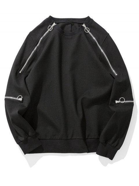 純色拉鍊裝飾外套 - 黑色 2XL Mobile