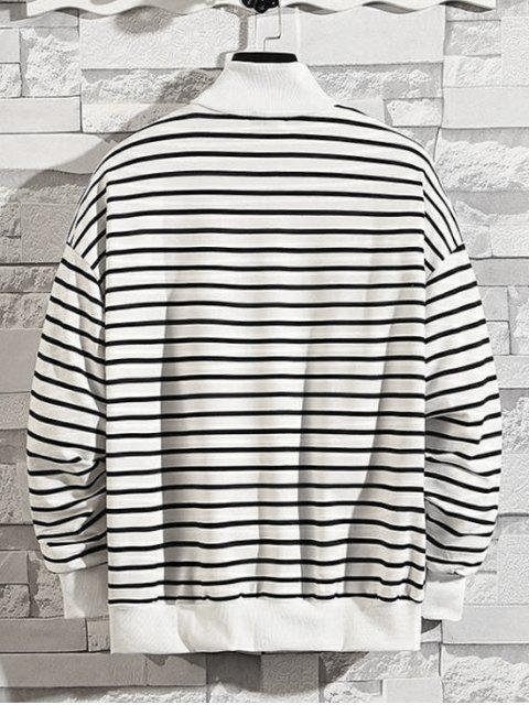 條紋圖案季度拉鍊休閒外套 - 白色 XL Mobile