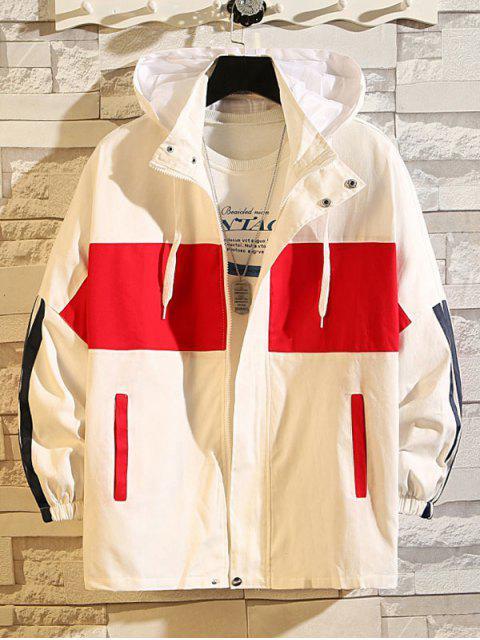 Farbblock Spleißen Buchstabedruck Lässige Kapuzenjacke - Weiß 2XL Mobile