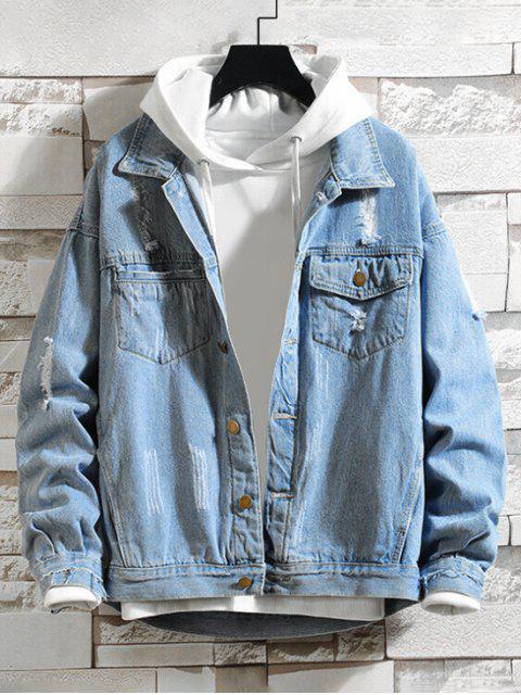 Fransen Riss Brusttasche Jeans Jacke - Denim Blau M Mobile