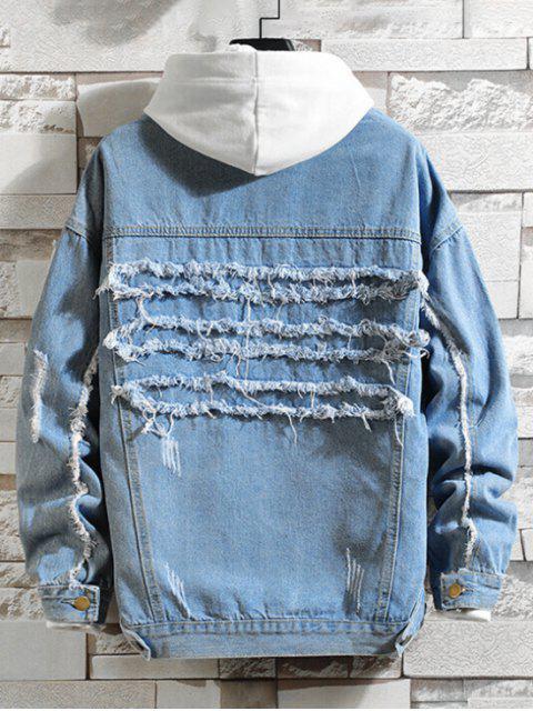 Fransen Zerrissene Brusttasche Jean Jacke - Denim Blau 4XL Mobile