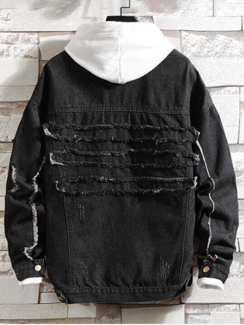 Fransen Riss Brusttasche Jeans Jacke - Schwarz XL Mobile
