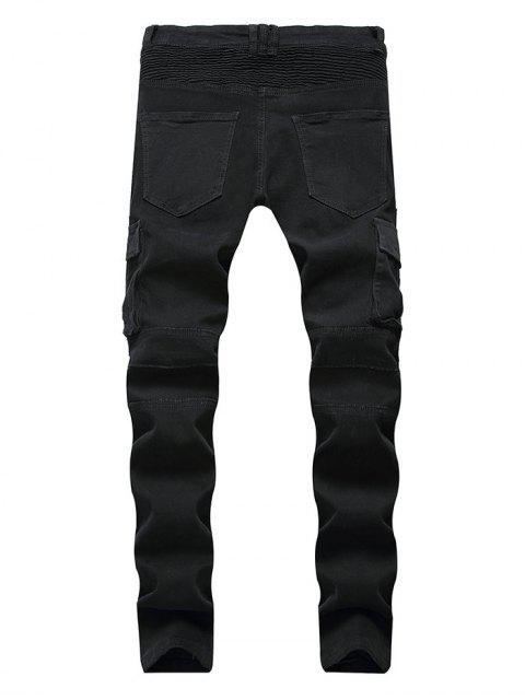 拉鍊褶皺拼接口袋休閒牛仔褲 - 黑色 38 Mobile