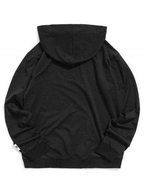 ZAFUL純色袋鼠口袋連帽衫 - 黑色 M Mobile