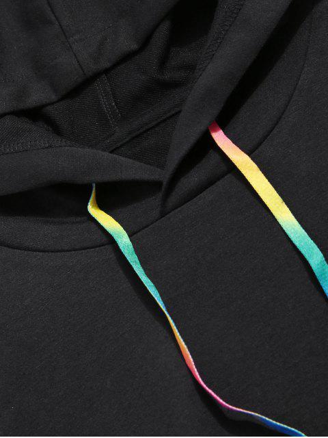 Einfarbiger Kapuzenpullover mit Känguru Tasche - Schwarz 2XL Mobile
