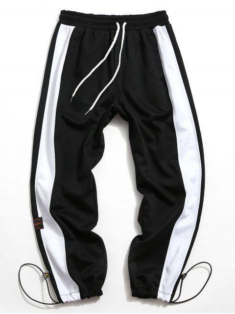 色塊拼接抽繩運動褲 - 黑色 L Mobile