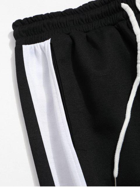 色塊拼接抽繩運動褲 - 黑色 2XL Mobile