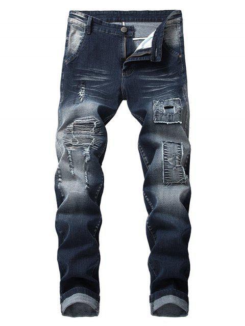 仿舊褶皺拼布破舊的牛仔褲 - 牛仔布深藍色 42 Mobile