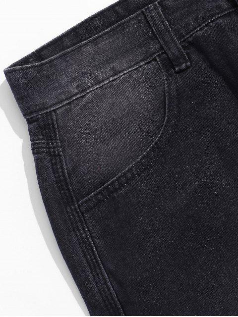 Buchstaben Tasche Verzierte Reißverschluss Fliege Jeans - Schwarz XL Mobile