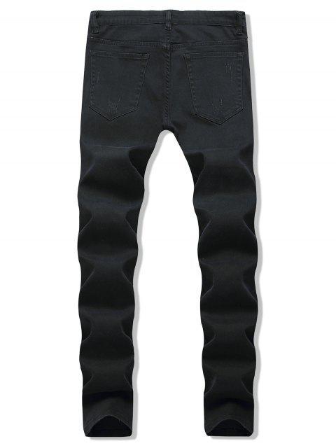 拼湊裝飾撕開休閒牛仔褲 - 黑色 40 Mobile