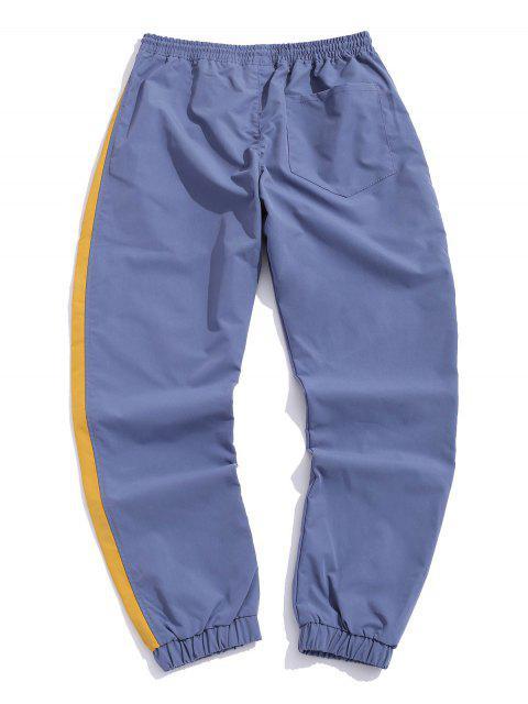色彩拼接休閒褲慢跑者 - 絲藍色 2XL Mobile